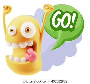 3d Rendering Smile Character Emoticon Expression saying Go with Colorful Speech Bubble.