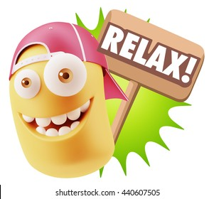 3d Rendering Smile Character Emoticon Expression saying Relax with Colorful Speech Bubble.