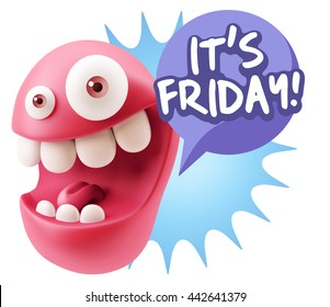 3d Rendering Smile Character Emoticon Expression saying It's Friday with Colorful Speech Bubble