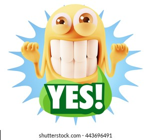 3d Rendering Smile Character Emoticon Expression saying Yes with Colorful Speech Bubble.