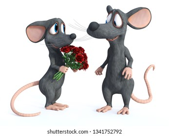 3D rendering of a smiling cartoon mouse that has given a bouquet of red roses to his cute date who is looking shy. They are ready for a romantic valentine's date. White background.