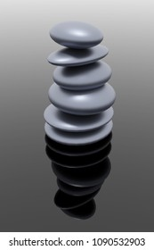 3d rendering of smooth round stones stapled to a tower. synonym of zen buddhism