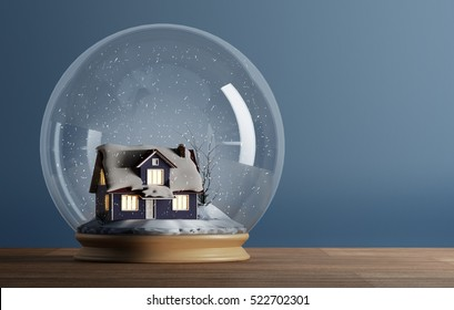 3D rendering of snow globe