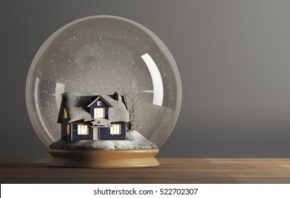 3D rendering of snow globe