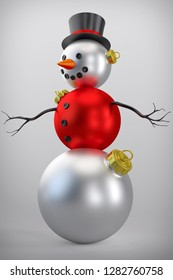3D Rendering of a Snowman Made of Christmas Ornaments on Neutral Background