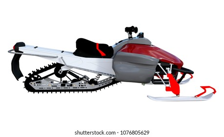 3D rendering of a snowmobile, or motor sled, motor sledge, or snowmachine, a motorized vehicle for winter travel isolated on white background