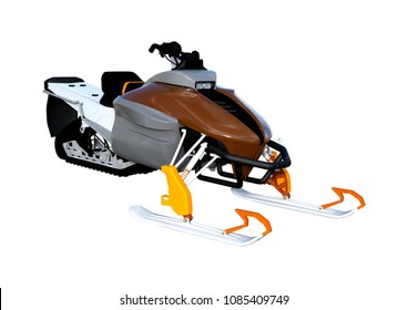 3D rendering of a snowmobile, or motor sled, motor sledge, or snowmachine, a motorized vehicle for winter travel, isolated on white background