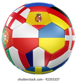 3d rendering of a soccer ball with flags from the countries participating in the euro 2012 cup