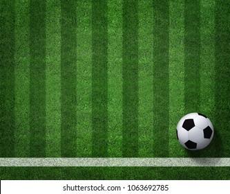 3D Rendering von Fußball mit Linie auf Fußball Feld.