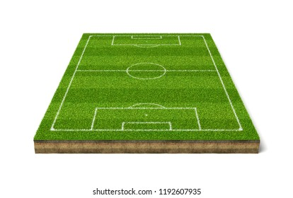 3d rendering of a soccer grass sport field with white lines. Outside games. Summer sport. Football field.
