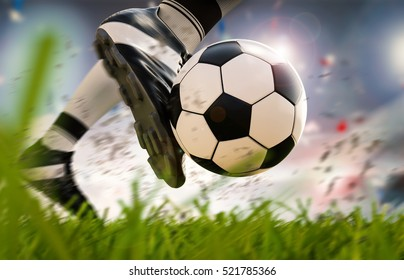 3d rendering soccer player kicking soccer ball in motion