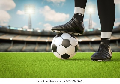3d rendering soccer player standing with soccer ball