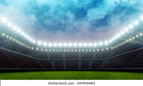 3D Rendering of soccer sport stadium, green grass during sunset with crowd of audience and bright led spot lights and white clouds