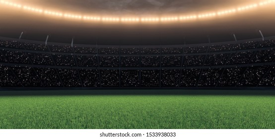 3D Rendering of soccer sport stadium, green grass during sunset with crowd of audience and bright led spot lights and dark clouds