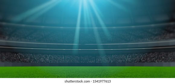 3D Rendering of soccer sport stadium, green grass during night match with crowd of audience and bright led spot lights