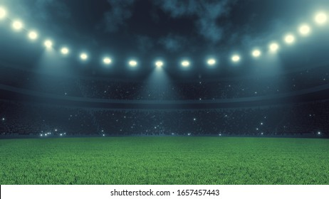 3D Rendering of soccer sport stadium, green grass during night match with crowd of audience and bright led spot lights and camera flashes