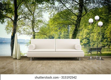 3D rendering of a sofa in front of a photo wall mural