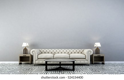 3D rendering of sofa living room design