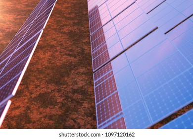 3D rendering solar power generation technology. Alternative energy. Solar battery panel modules with scenic sunset with blue sky with sun light.