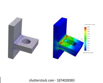 3D Rendering of Solid Models with Meshing and Deformed Finite Element Analysis Result