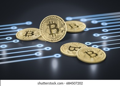 3d rendering of a some bitcoin coins on a dark electronic background