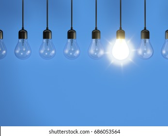 3d rendering of some bulbs one is on