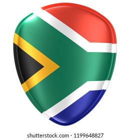 3d rendering of a South Africa flag icon on white background.