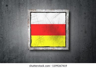 3d rendering of a South Ossetia flag in a concrete wall