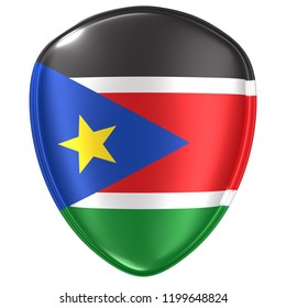 3d rendering of a South Sudan flag icon on white background.