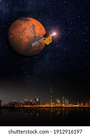 3D rendering of space probe mission to Mars from UAE.