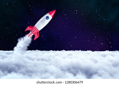 3d rendering of a space rocket which has just passed through a layer of thick clouds and is now heading into open space. Space exploration. Rocket launch. Aim for stars.