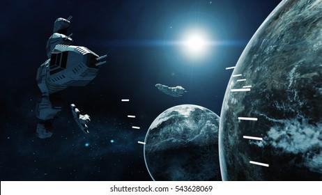 3D rendering of spaceship in battle a cosmic scene