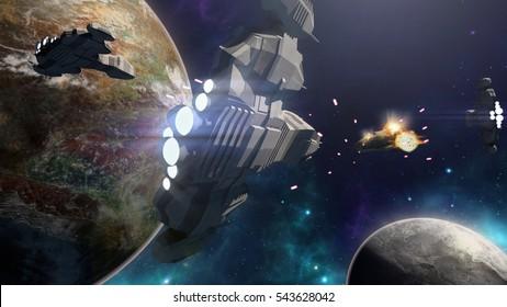 3D rendering of spaceship battle in a futuristic scene
