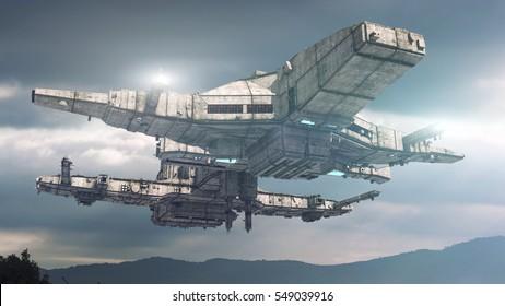 3d rendering. Spaceship UFO concept