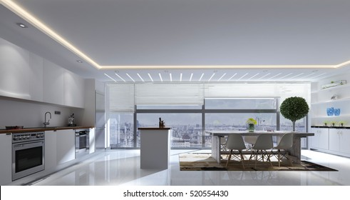 3D rendering of spacious kitchen and dining room with track lighting, mirrors and small tree in front of large window