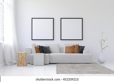 3D rendering of spacious living room scene with sofa, neatly arranged brown pillows, planter, throw rug and pair of square blank picture frames above