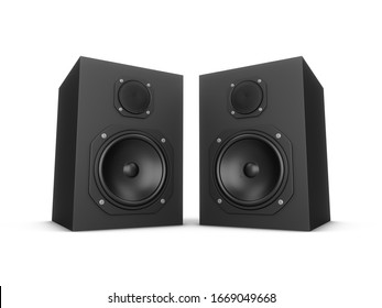 3D rendering speakers isolated on white background