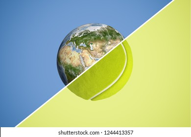 3d rendering of a sphere split in halves with a diagonal line, one half being planet Earth and the other a tennis ball. Competitive spirit. Sport and competition. Leading a healthy lifestyle.