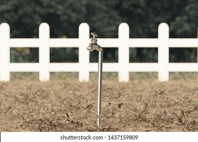 3d rendering of spigot on withered grass and garden