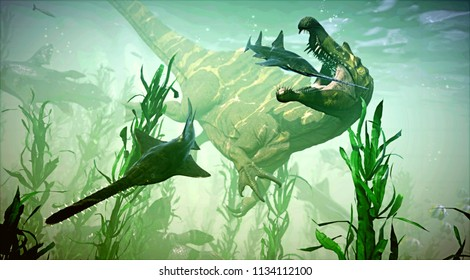 A 3D rendering of Spinosaurus hunting a group of Onchopristis.