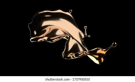 3d Rendering of the splash gold in black background