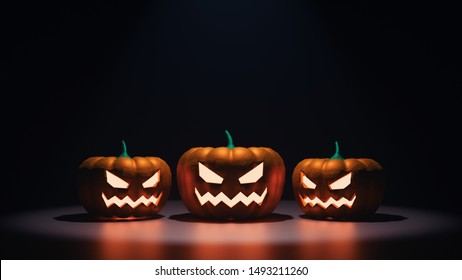 3D Rendering of spooky Halloween pumpkin face heads at night with glowing orange light and reflection on ground floor. Jack o lantern for trick or treat festival holiday event
