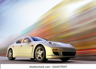 3D rendering of a sport car on motion at high speed