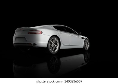 3D rendering of a sport car on a black background