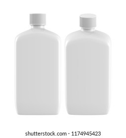 3D rendering square plastic bottle with lid Mock-up template on white background