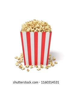 3d rendering of a square striped popcorn bucket with popcorn overflowing of it. Popcorn in bucket or tub. Tasty snack. Movie night.