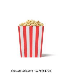 3d rendering of a square striped popcorn bucket filled with this snack over the brim on a white background. Popcorn in bucket or tub. Tasty snack. Movie night.