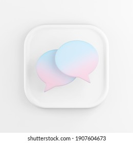 3d rendering square white icon button key round speech bubbles isolated on white