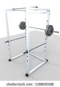 3d rendering squat fitness machine to work quadriceps and buttock isolated on white