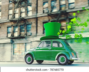 3d rendering. st. patricks day car driving with flying shamrocks.
